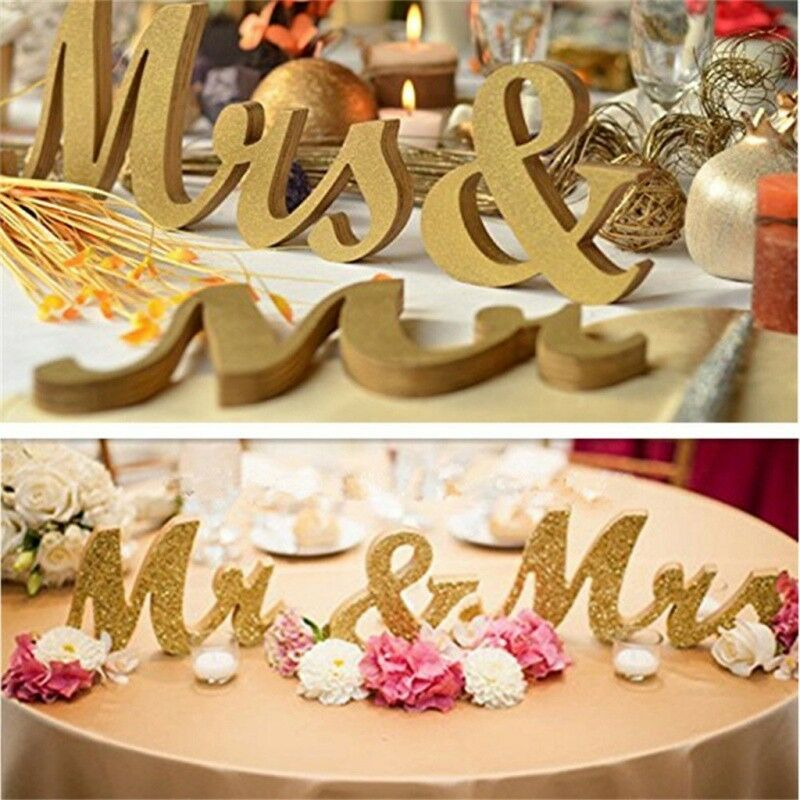 Letters Mr And Mrs Letters Sign Wooden Standing Top Table Wedding