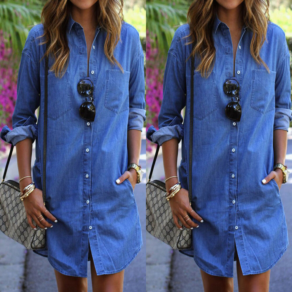 Casual Women Blue Jeans Denim Tunic Long Sleeve Loose Blouse Shirt