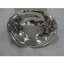 Antique Bisansha Sterling Silver Dish High Relief Orchids