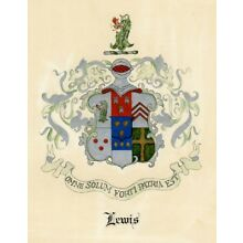 LEWIS Family name COAT of ARMS Heraldry HAND PAINTED artwork GRIFFIN silver ink