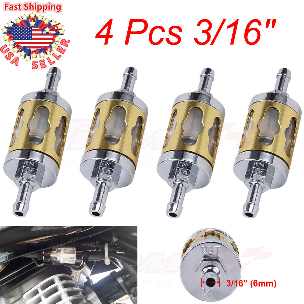 4x Motorcycle 6mm 7mm 3 16 Inline Gas Carburetor Engine Fuel Filters Clear Filter Glass