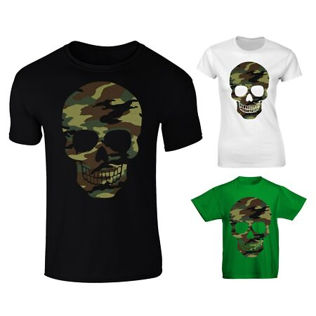 img-Forest Camo Camouflage Patterned Skull T-shirt - Mens Womens And Kids Sizes