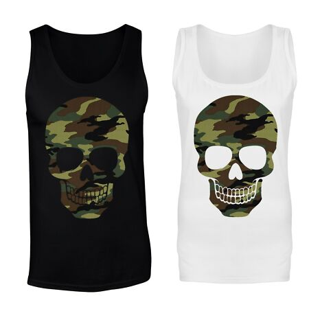 img-Forest Camo Camouflage Patterned Skull Vest Tank Top - Mens, Womens Sizes
