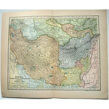 Original 1902 Map of Persia, Afghanistan, Baluchistan and Parts of Central Asia