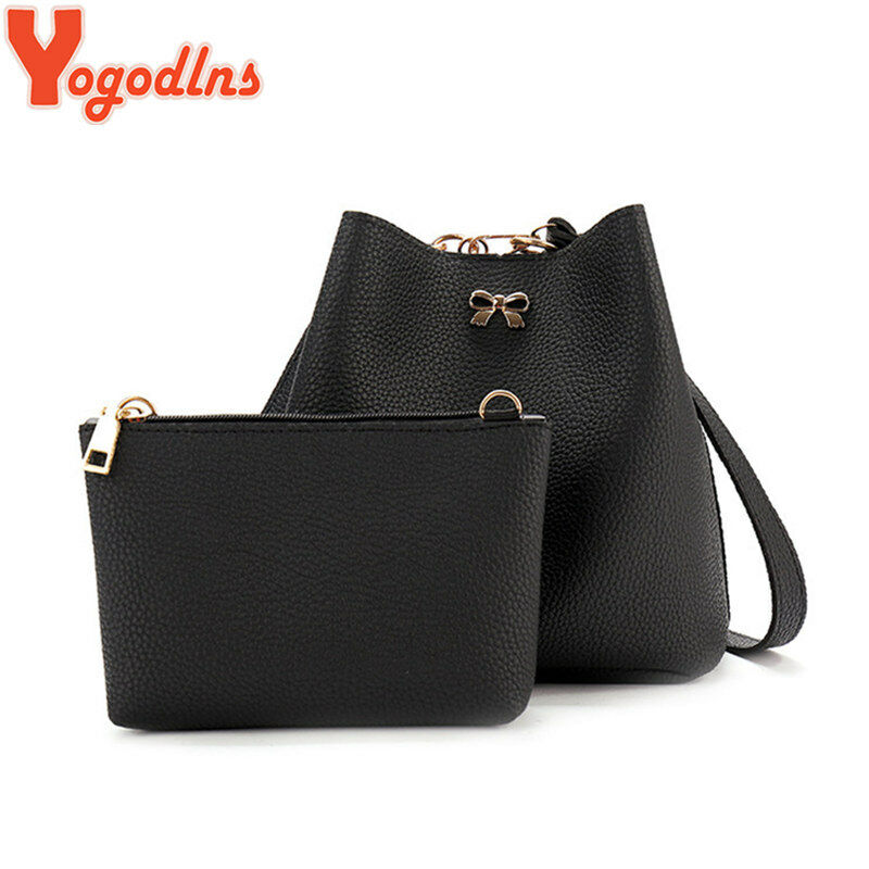 cc80cb5268 Details about Yogodlns High Quality Leather Women Bag Set Bucket Shoulder  Bags Female Handbag