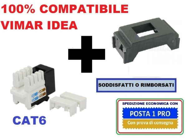 presa di rete dati rj45 cat6 compatibile vimar idea nero. internet - ethernet
