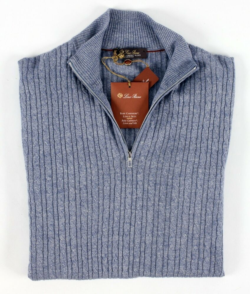 4f091cf79f8b Details about  1685 NWT - LORO PIANA BABY CASHMERE BLEND 1 2 Zip Cableknit  Sweater - Blue XL
