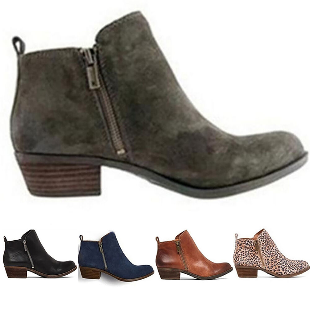 bc361e7678d Details about Women s Booties Low Heels Ankle Boots Round Toe Zip Up Casual  Shoes Size 6-10.5