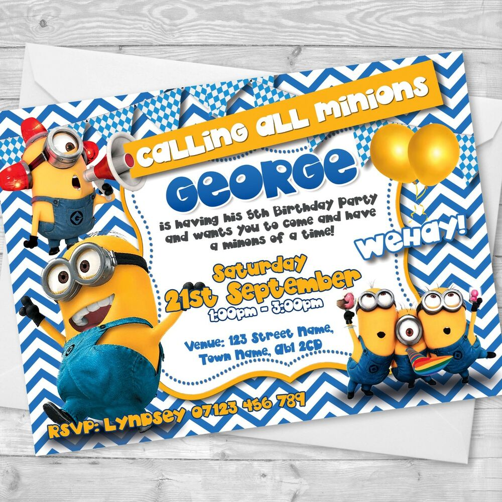 Details About Personalised Minions Birthday Party Invitations