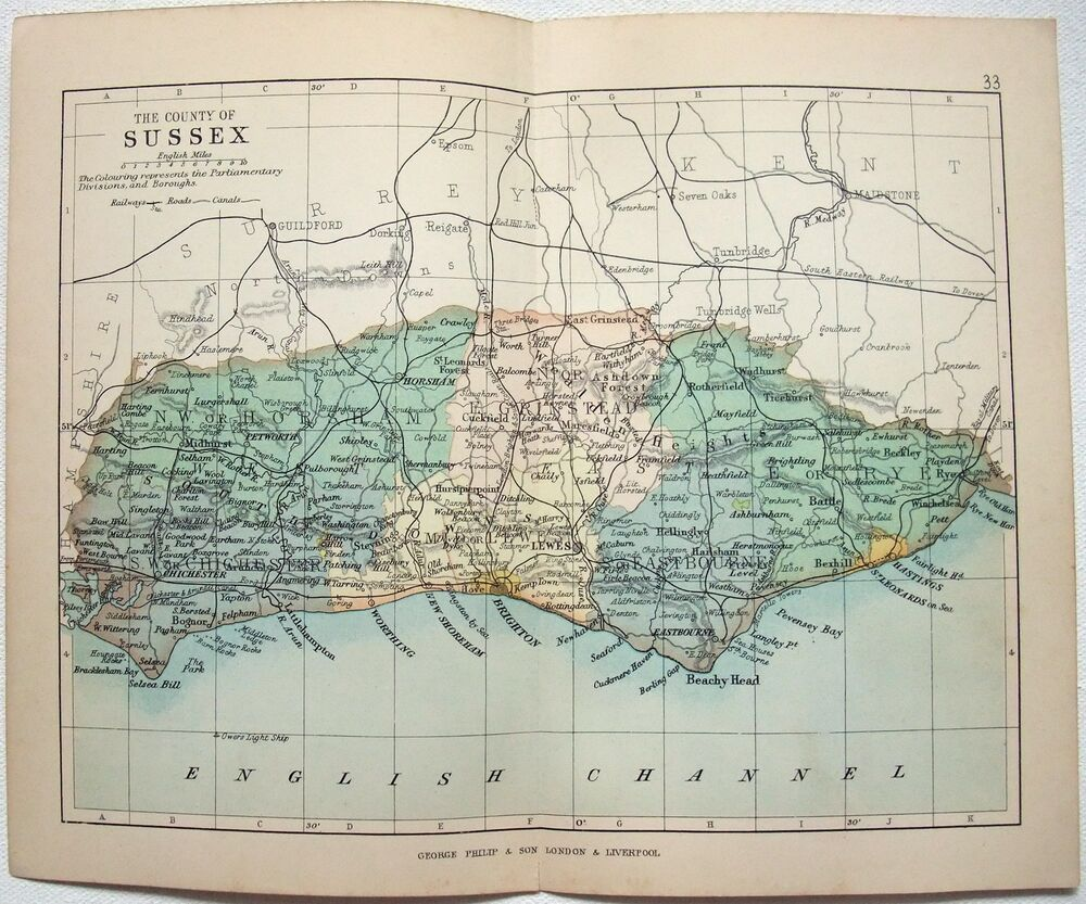 Original Philips 1892 Map Of The County Of Sussex England Ebay
