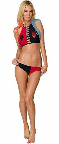 a732cd5baac1 DC Comics Harley Quinn High Neck Bikini Halter Top Set Swim Bathing Suit