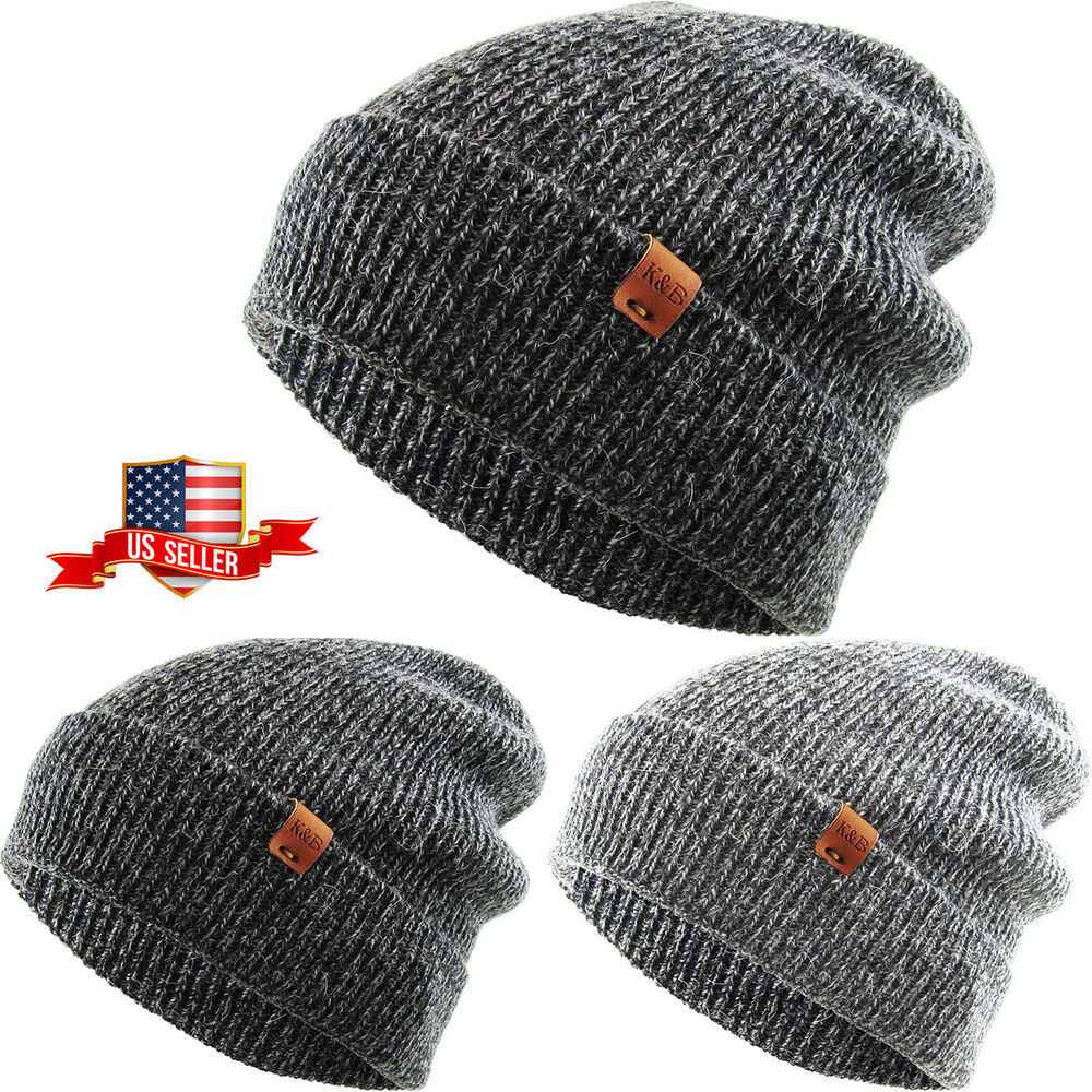 4ee8c0f978dfc Details about Heather Cuffed Slouchy Beanie Baggy Style Skull Cap Winter  Unisex Ski Hat