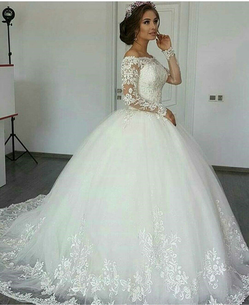 A Line Wedding Gown With Sleeves: A-line Long Sleeve Wedding Dresses Off Shoulder Lace