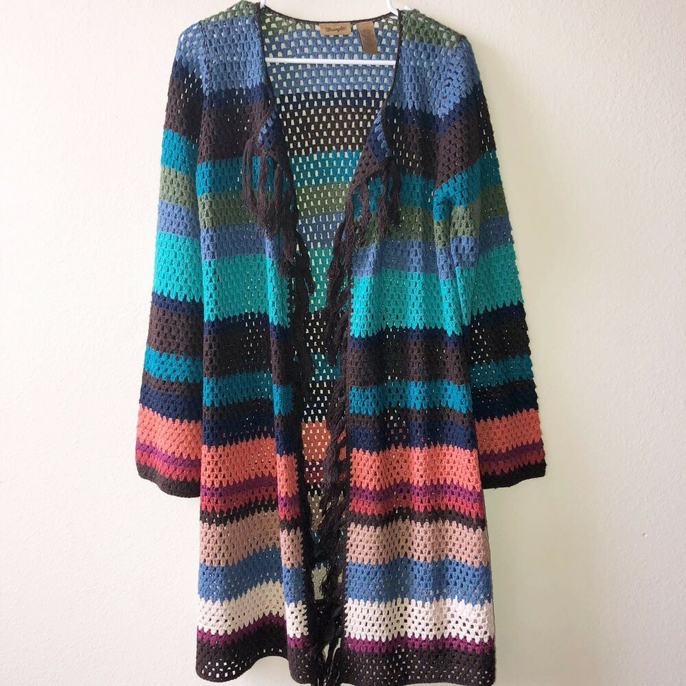 3b02f775ef Details about Wrangler Women s Small Long Sweater Knit Open Cardigan Striped  I7