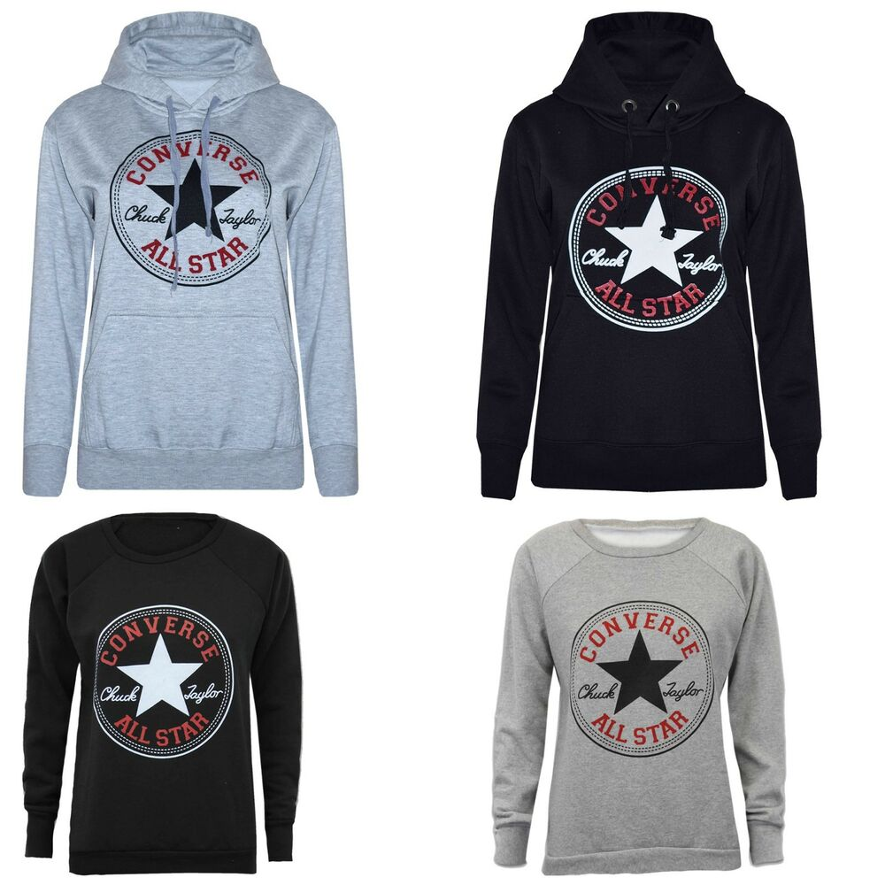 04a95b210b83 Details about Ladies Converse Print Hoodies Sweatshirts Graphic Warm Winter  Plus Size