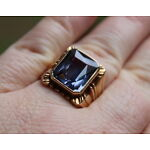 Antique 1930s Mans 14K Gold Deco Ring Quality Faceted Faux Alexandrite Stone, NR
