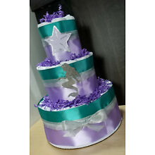 3 Tier Diaper Cake - Little Mermaid Theme - Teal Purple and Silver Baby Shower