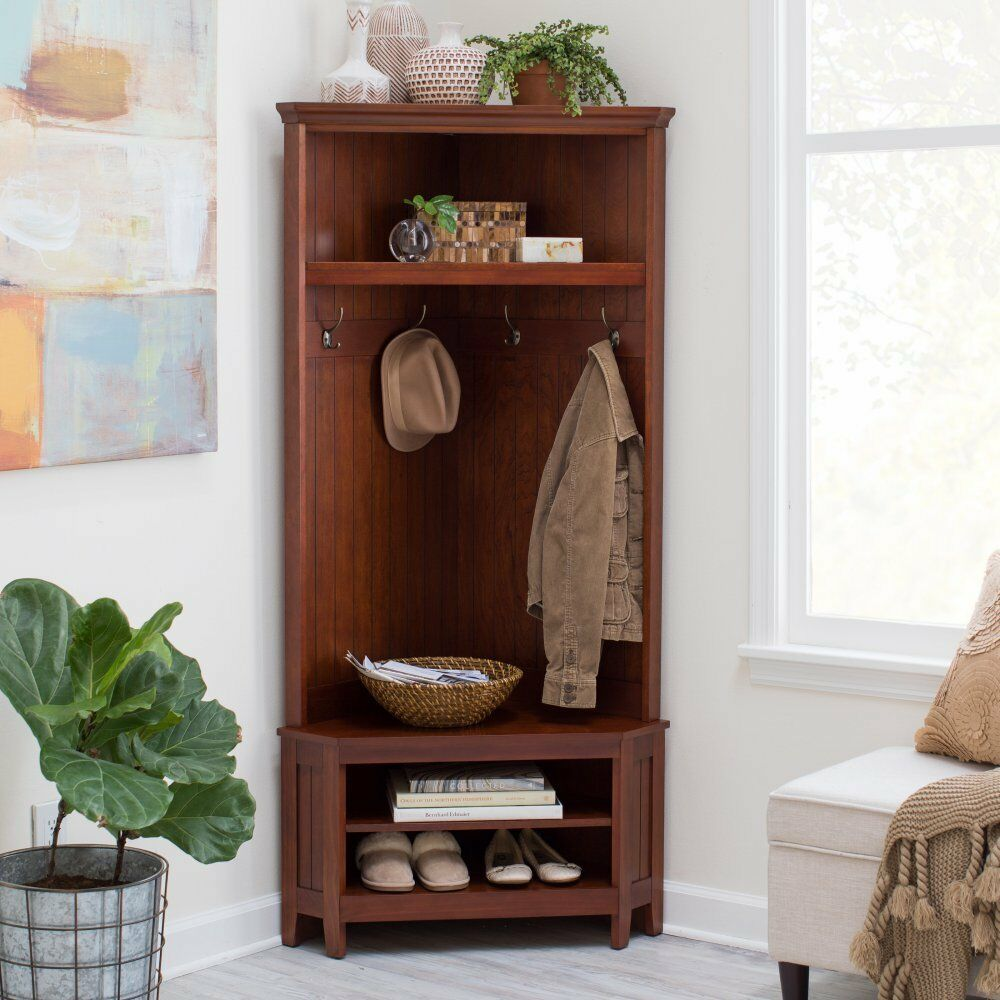 Details About Cherry Corner Hall Tree Storage Bench Coat Hang Entryway Furniture Living Room