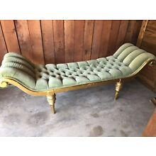 vintage Hollywood Regency style Tufted Curved Arm BENCH
