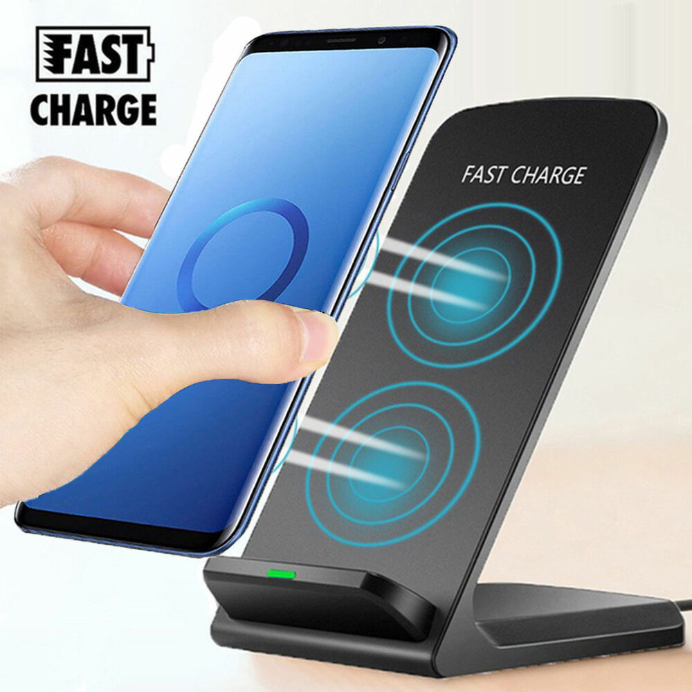 for samsung galaxy s9 s9 plus wireless qi fast charger charging stand dock pad ebay. Black Bedroom Furniture Sets. Home Design Ideas