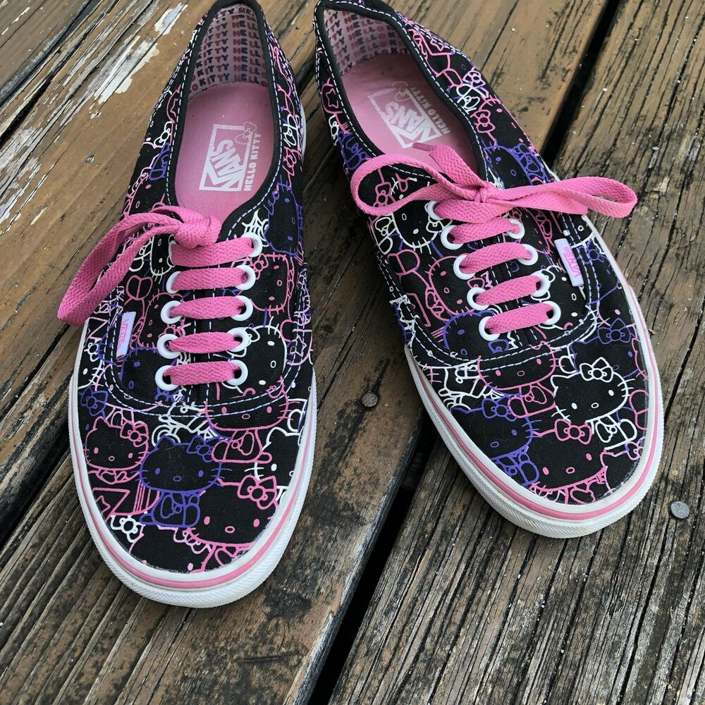 0cccb65363ba Details about Vans Off The Wall Black Pink Hello Kitty Sneakers Womens 9 M  7.5 Skate Sk8 Shoes