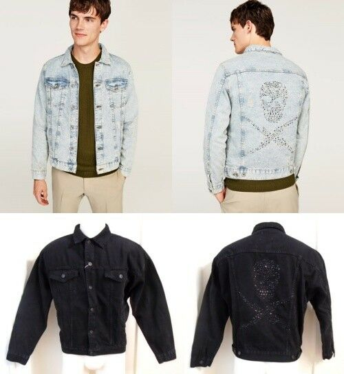 faf2ea78 Details about New ZARA Light Blue Black Bleached Faded Ripped Denim Jacket  With Studded Skull