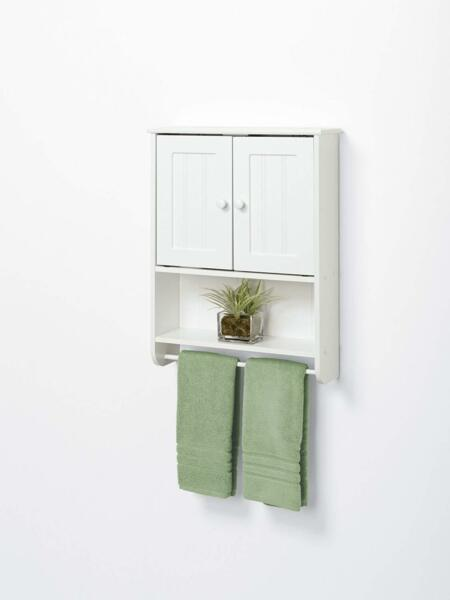 Modern Bathroom Wall Cabinet with Double White Door Organizer Storage Bath US