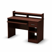South Shore Axess Desk With Keyboard Tray Royal Cherry Brown