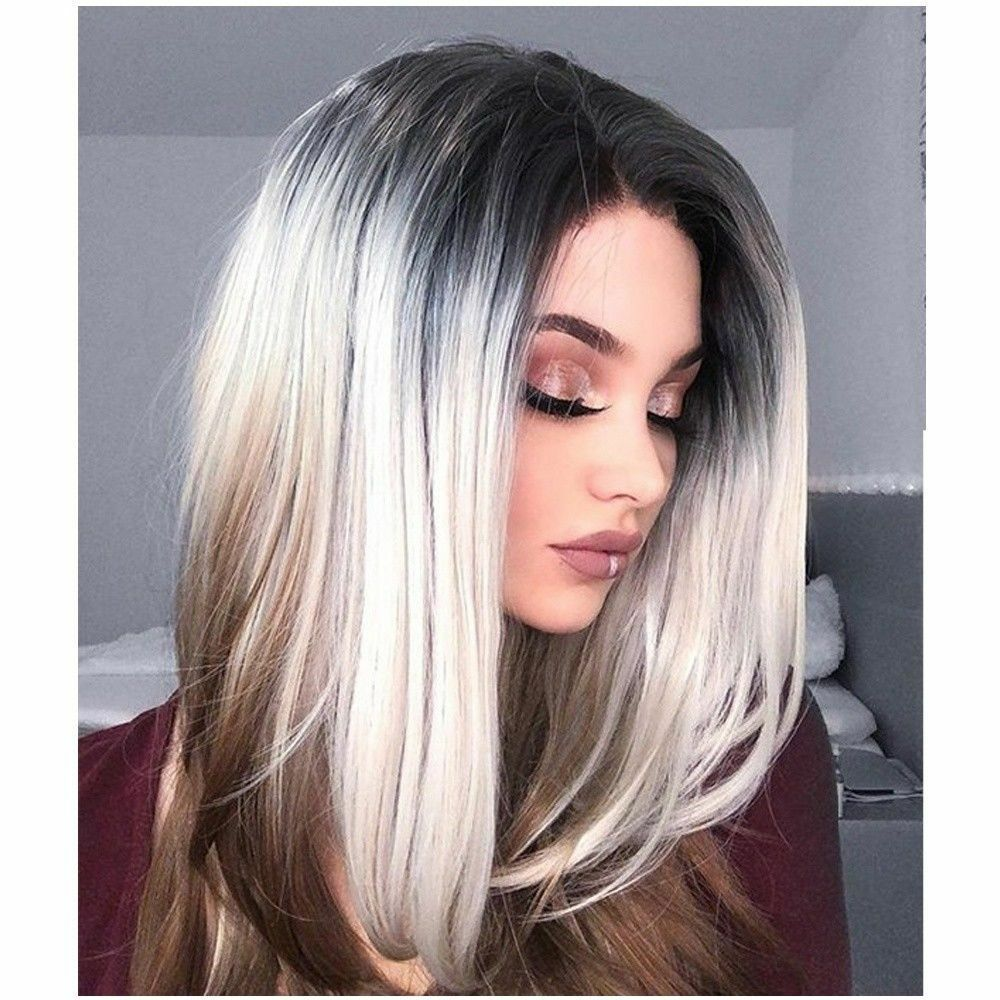 Short Bob No Lace Wig Straight Grey Ombre Synthetic Hair Wigs