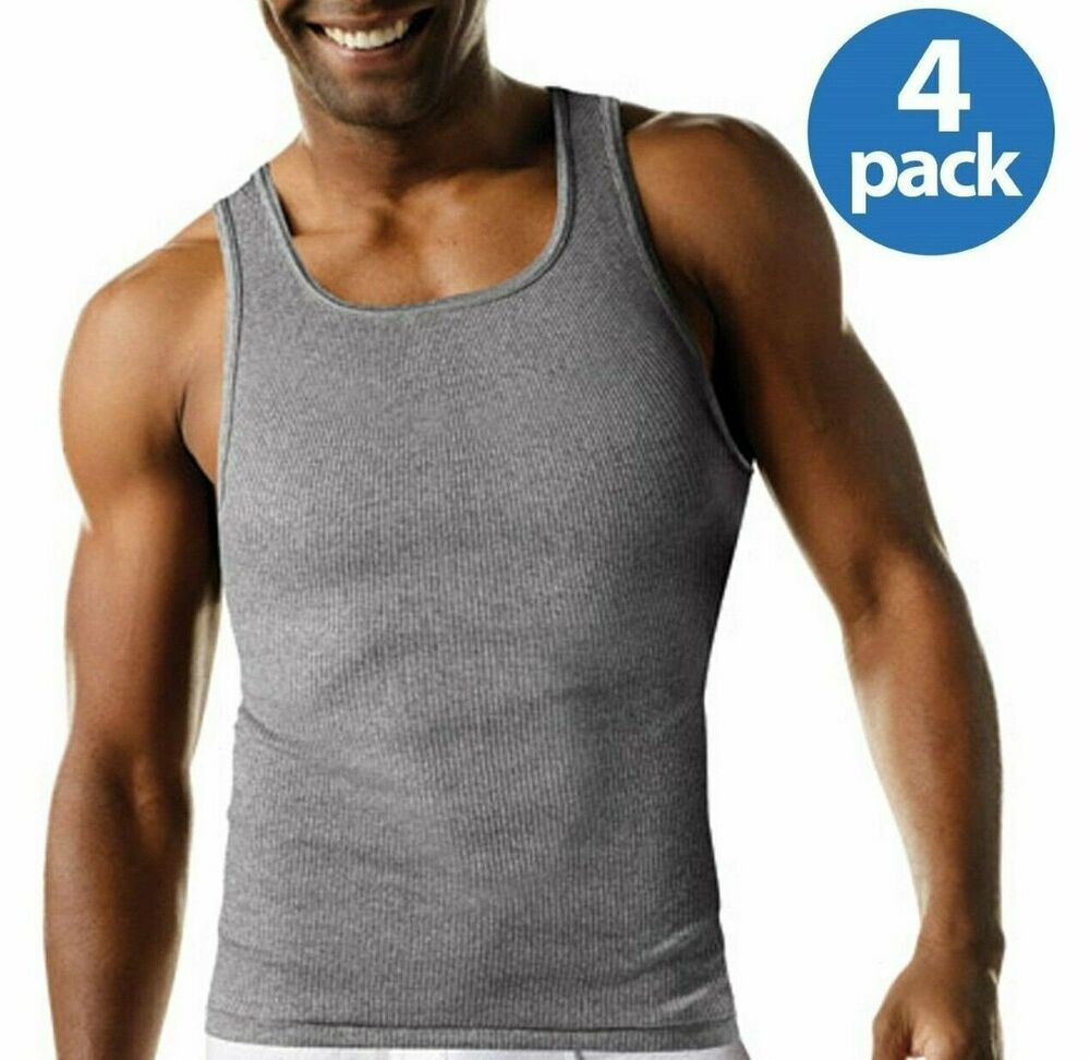 8ebdc8c0 Details about Men's Hanes 4Pk Color A-shirt Tagless Undershirt Tank Top  Wife Beater Size S-2X