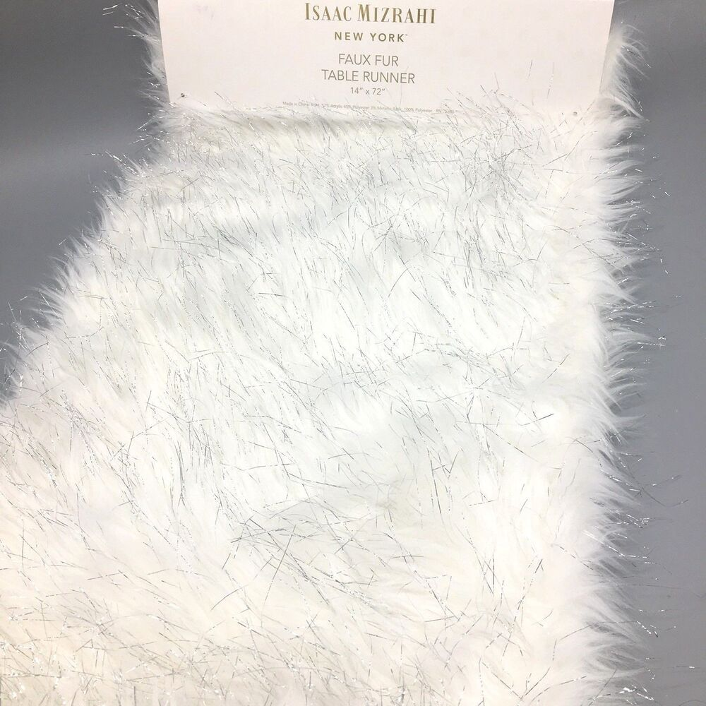 Details About Isaac Mizrahi Faux Fur Table Runner White Silver Tinsel 14x72 Designer Christmas