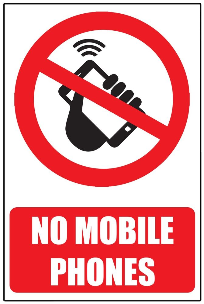 no mobile cell phones warning safety sticker sign window