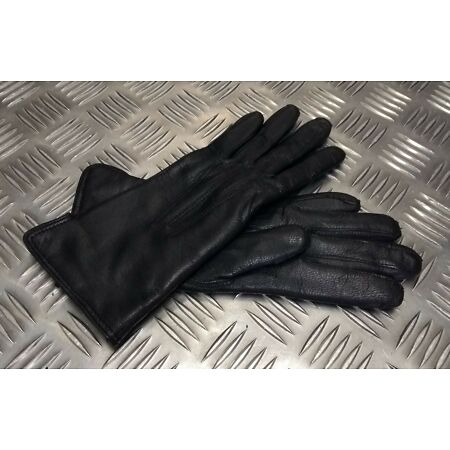 img-Genuine Military Issue Officers Black Leather Lined 3 Dart Parade Gloves NEW
