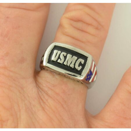 img-USMC Marines Military Ring Size 5-15 Men's and Ladies American Flag On Side