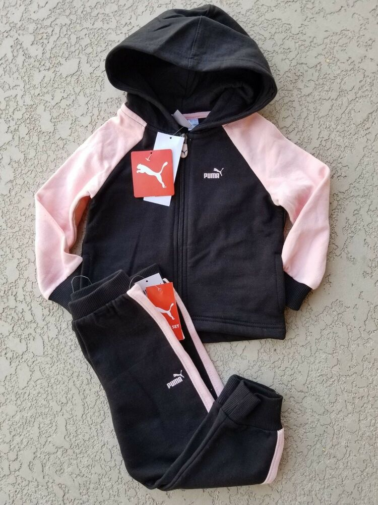 finest selection 5d3a0 84fbd Details about NWT PUMA Baby Girl 2 Piece Set Hoodie Pants Fleece Lined  Black Pink SELECT SIZE