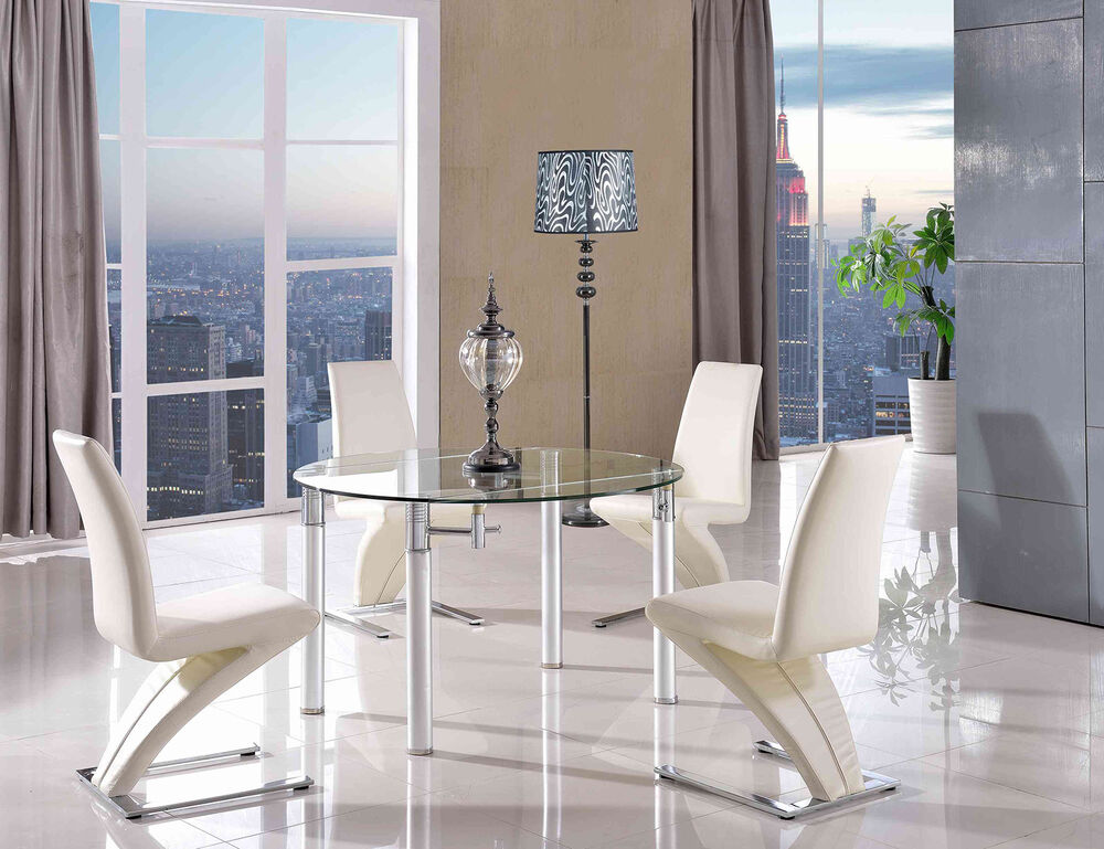 Details About Round Extending Gl Dining Table And Chairs Torino With Zed Leather