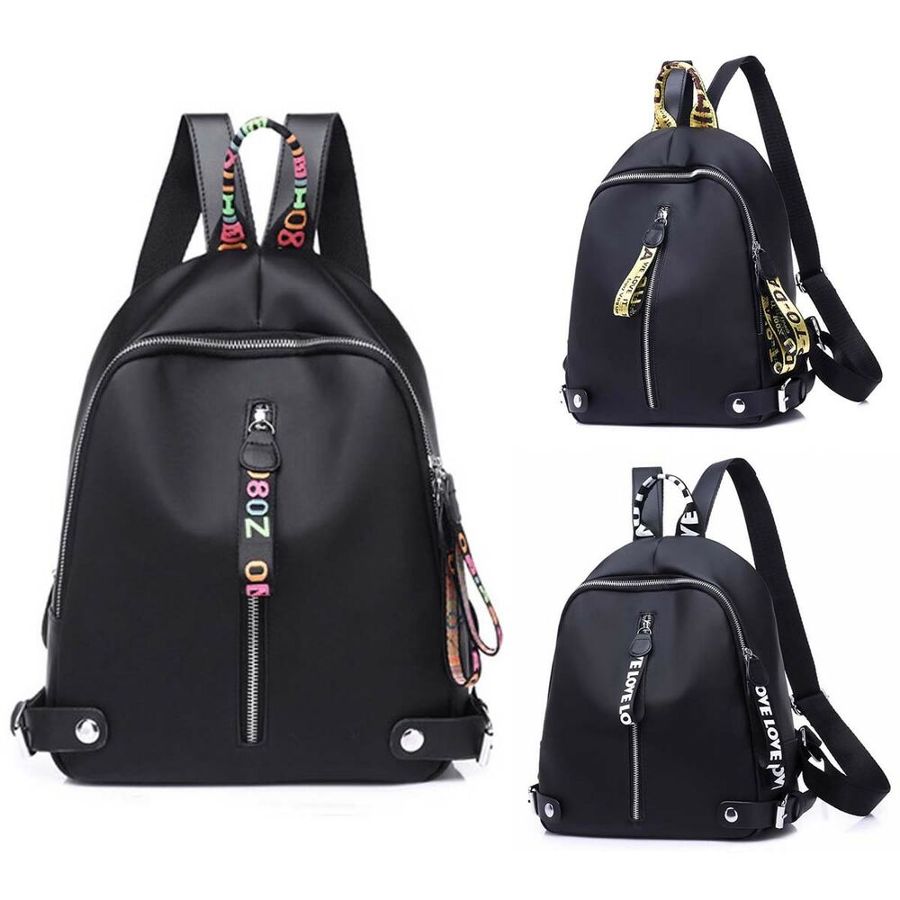 f969c4148c0e Details about Fashion Women Black Shoulder School Backpack Travel Bag Nylon  Rucksack Handbag
