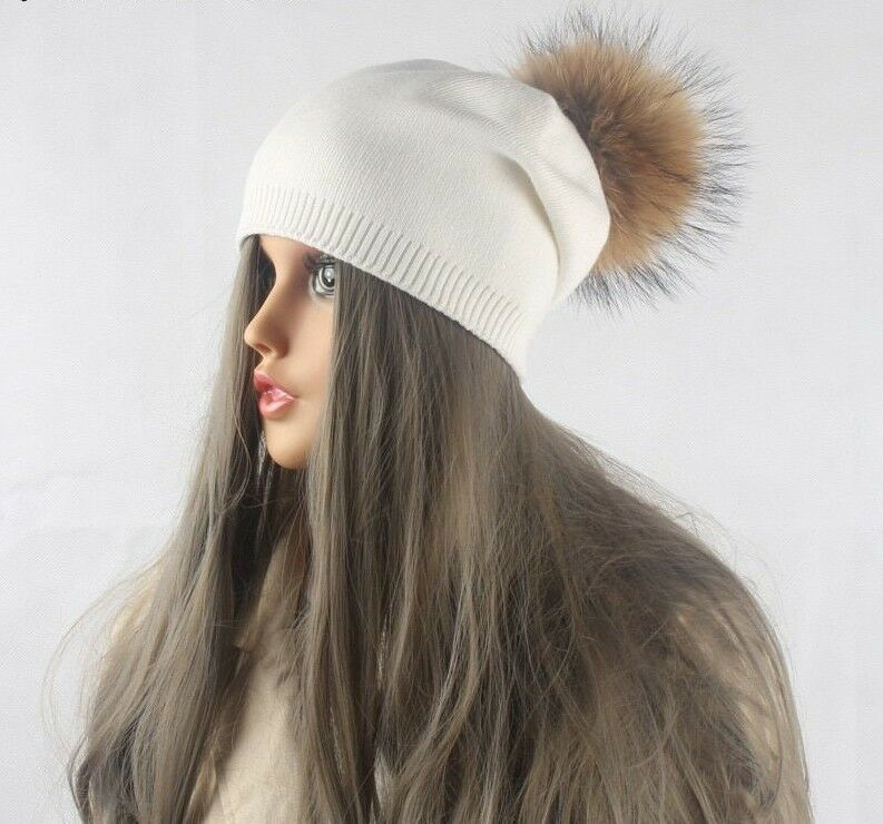 fedda381148 Details about Women Beanie Winter Warm Hat Wool Knitted With Real Mink Fur  Pom Poms Skullies