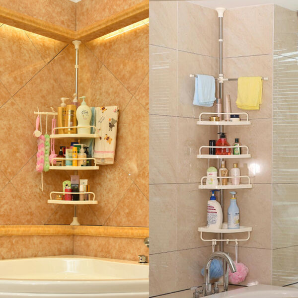 4Tier Shower Corner Pole Caddy Shelf Rack Bathroom Bath Storage Holder Organizer