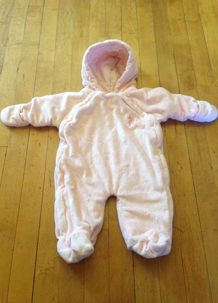 Cotton Candy Baby Girl Bunting Pram Snowsuit Size 3 6 9 Months Pink Hearts