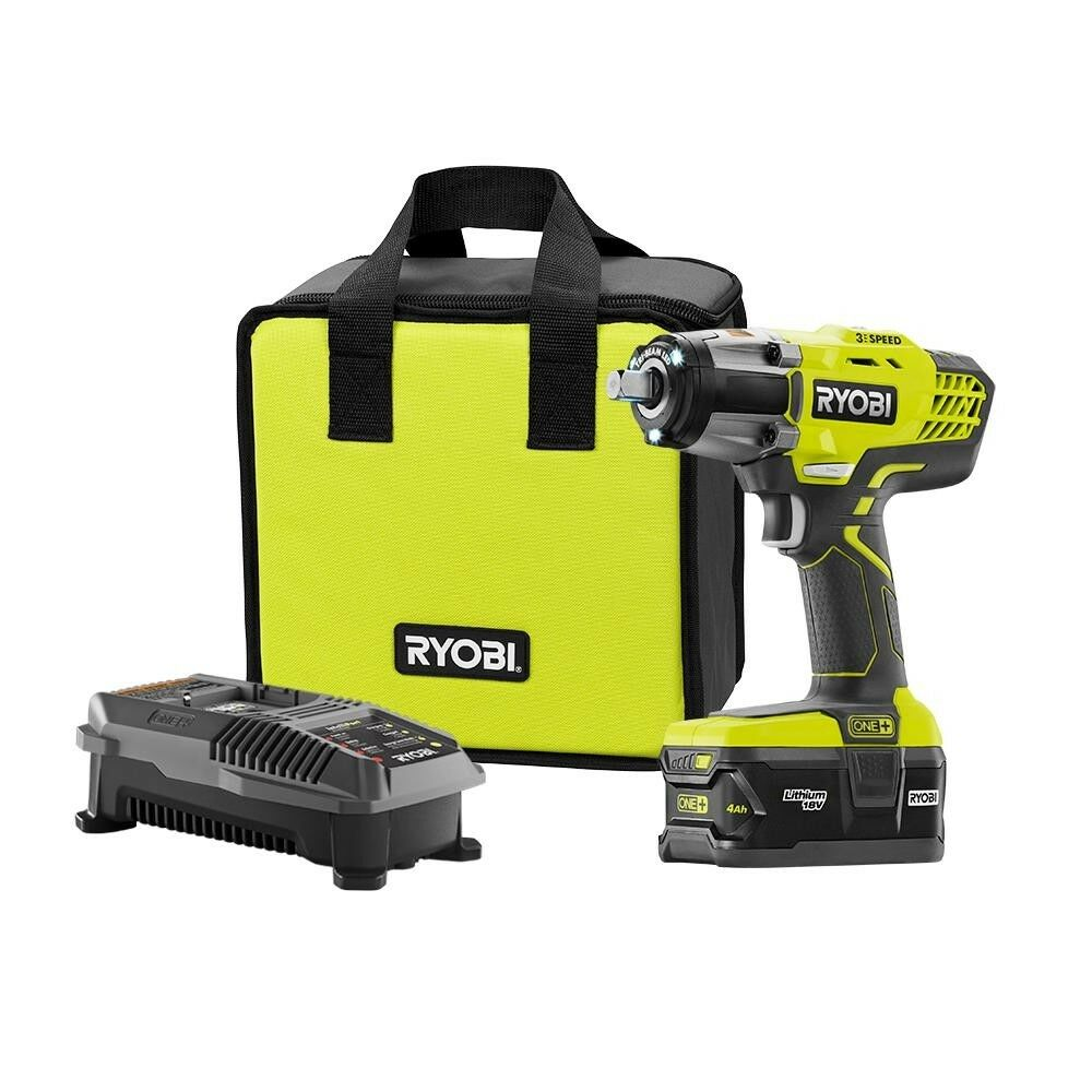 Details About Ryobi One Impact Wrench Kit 18 Volt Lithium Ion Cordless Charger Battery Bag