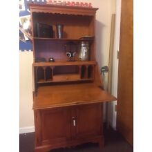 Vintage Secretary Desk with Hutch and Lockable Cabinet