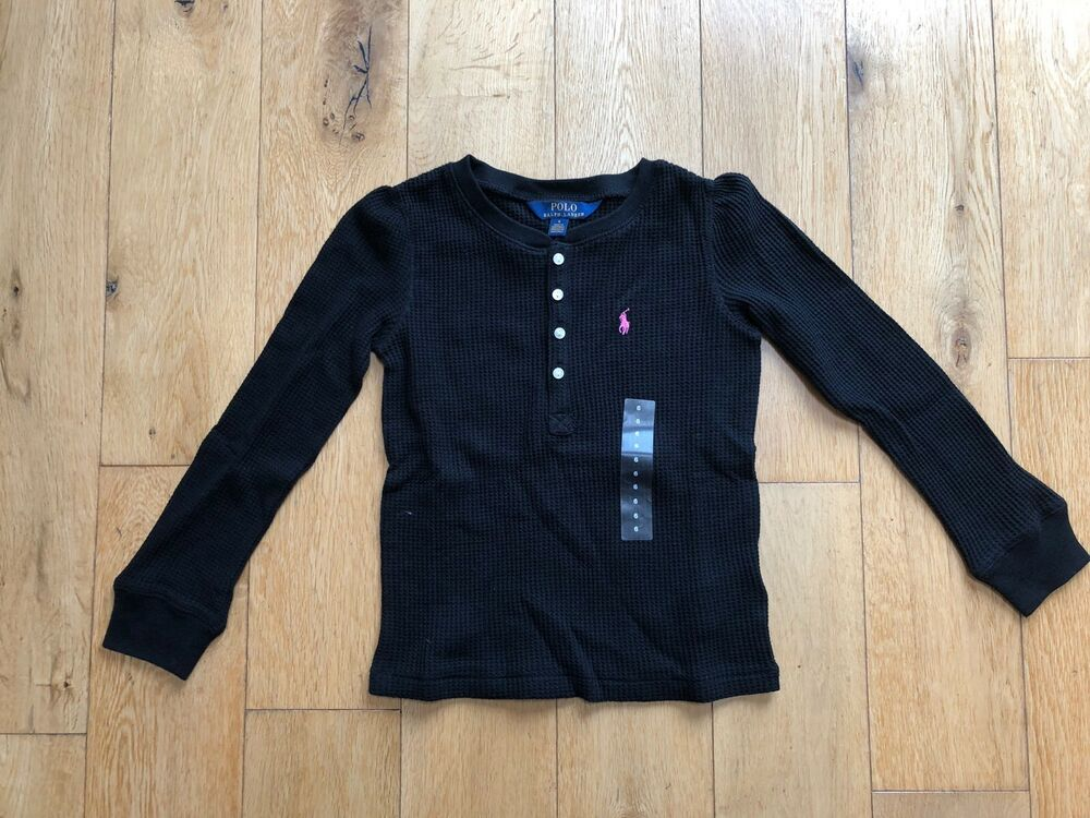 fe376acf Details about Genuine Ralph Lauren Black Girl Long Sleeve Polo Shirt For 6  Years Old