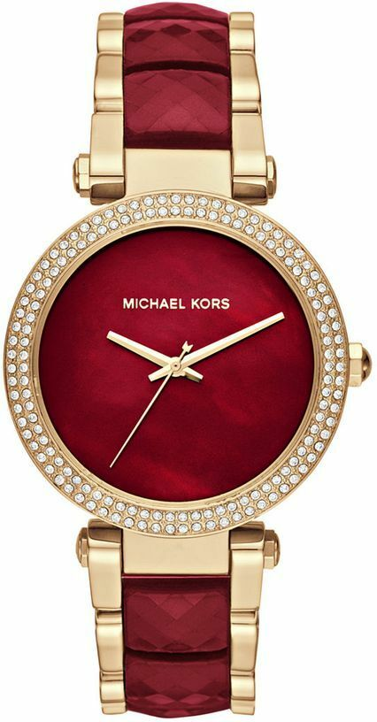 7f442fe56a81 Details about New Michael Kors MK6427 39mm Parker Red Choronograph and Gold  Women s Watch