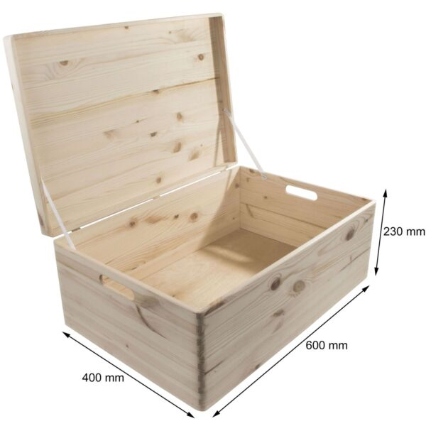 XXLarge Wooden Storage Box /60x40x23cm/ Made Of Natural Pinewood / Lid & Handles