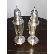 Antique M Sterling Silver Salt And Pepper Shakers 74.5 grams Miller not scrap
