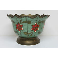 Vintage Porcelain on Solid Brass Bowl - Hand Painted - Red Flowers on Green