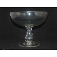 ANTIQUE AMERICAN FREE BLOWN GLASS PITTSBURGH OPEN COMPOTE HOLLOW BALUSTER STEM