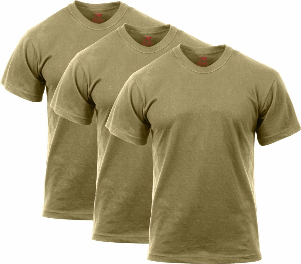 3 Pack Coyote Brown Official AR 670-1 US Army 100% Cotton Solid Military T- Shirt  9008708aec8