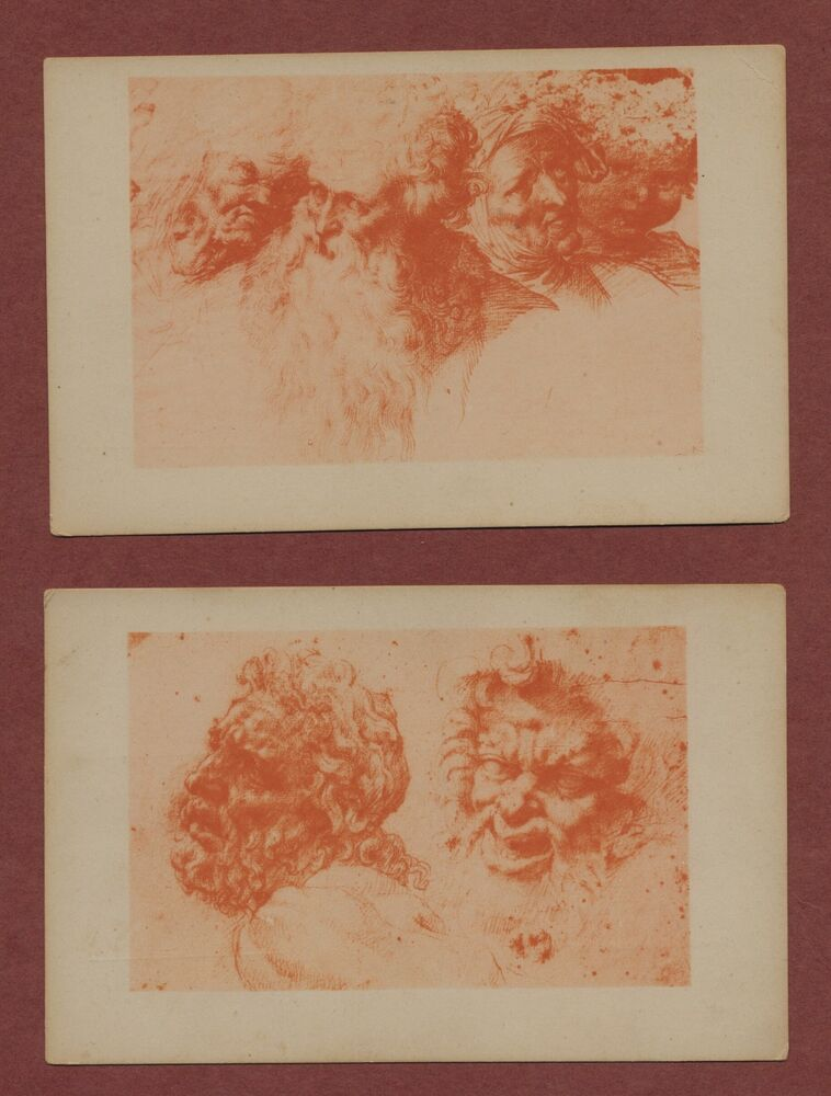 Details about Camillo Procaccini 2 vintage postcards Studies of Heads  Venice AH1127